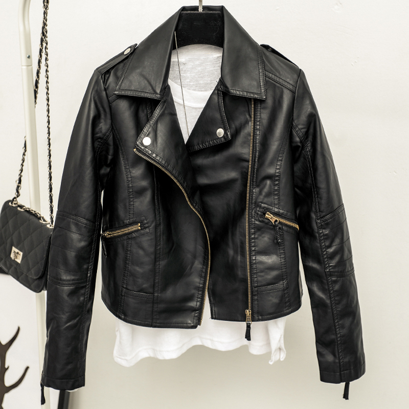 Cheap Price Women Biker   Leather   Jacket Black Color Fashion Woman Short Dress Suit   Leather     Suede   Coat Girls Streetwear 2019 B444
