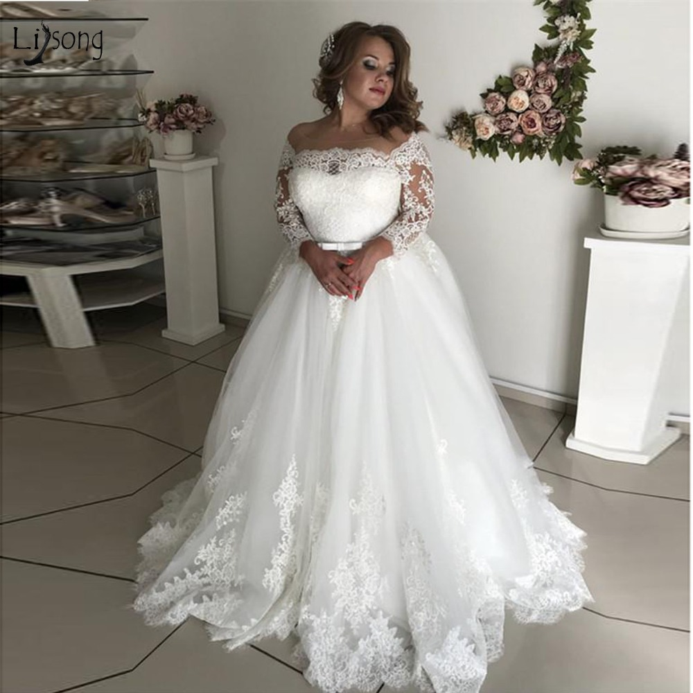 US $143.1 10% OFF|Modest Pure White Lace Wedding Dresses With Full Sleeves  Plus Size Lace Up Pretty A line Bridal Gowns Vestidos De Noiva-in Wedding  ...