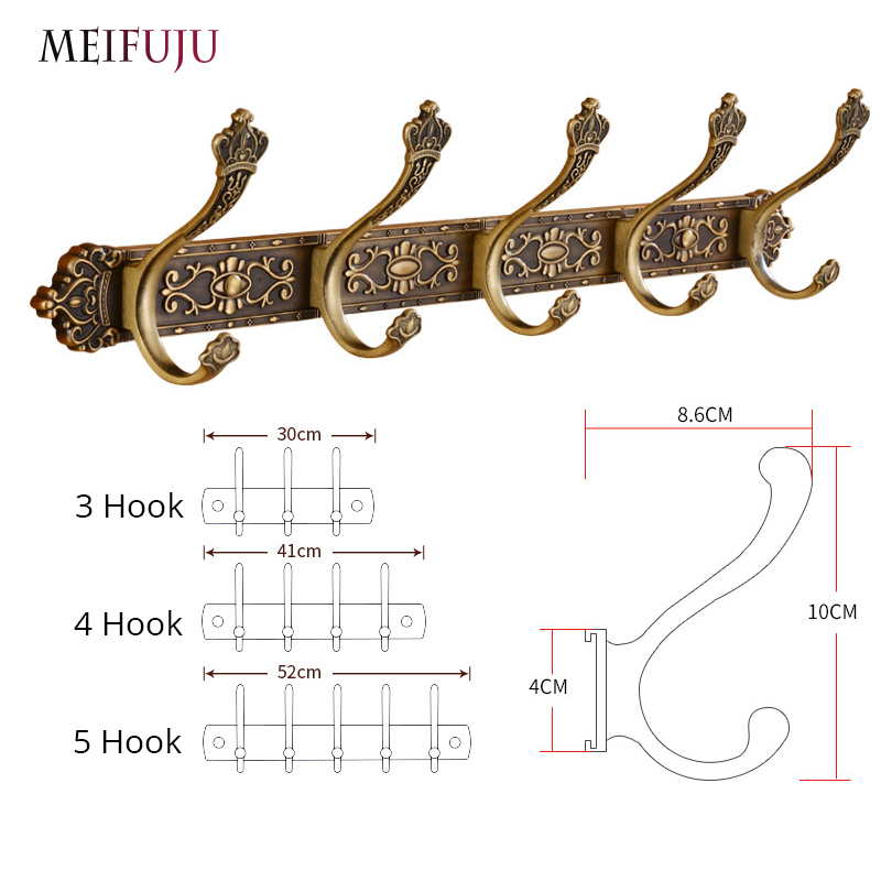 Купить с кэшбэком MEIFUJU Vintage Bathroom Hooks Aluminium Antique Robe Hook Bronze Metal Coat Hooks Modern Wall Hangers for Clothes Carving Hook