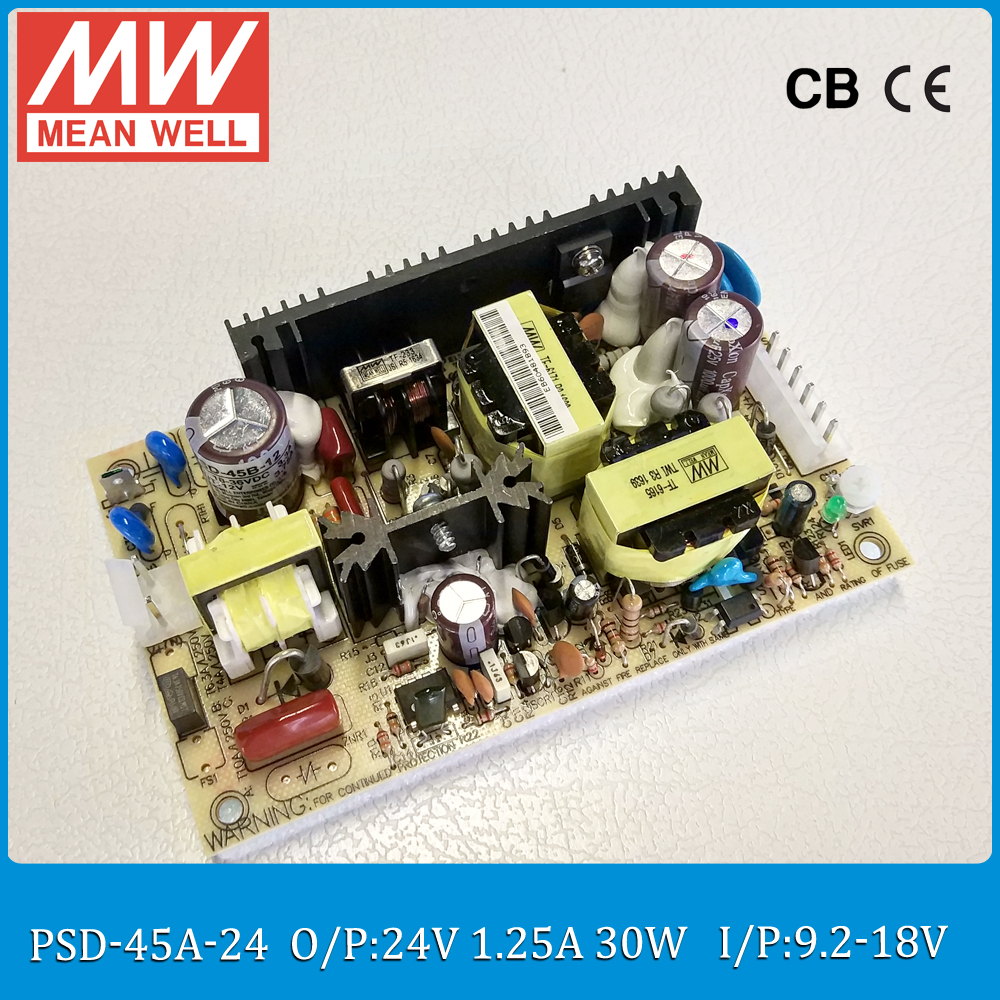 цена на Original MEAN WELL 30W DC DC regulated converter PSD-45A-24 Input 9.2~18VDC to 24V 1.25A 30W dc dc isolated converter PCB type