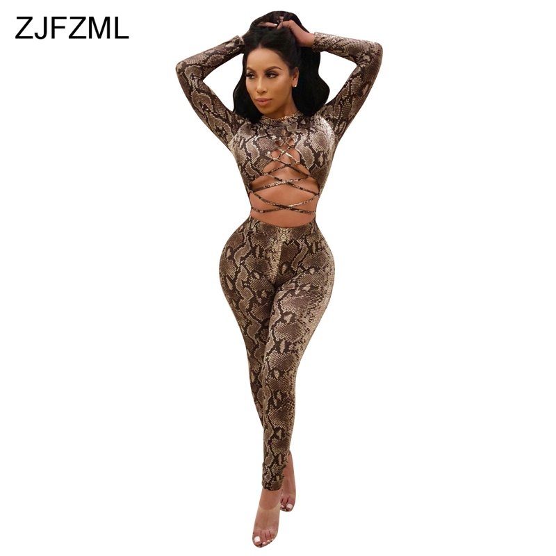 e14c03ac526 Detail Feedback Questions about ZJFZML Snake Skin Print Sexy Bandage  Jumpsuit Autumn Long Sleeve Skinny Plus Size Romper Casual Lace Up Hollow  Cotton ...