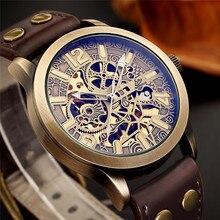 Relogio Masculino ผู้ชายนาฬิกาโครงกระดูกอัตโนมัตินาฬิกาผู้ชาย Top ยี่ห้อ Luxury Antique Bronze กีฬาทหารนาฬิกาข้อมือ