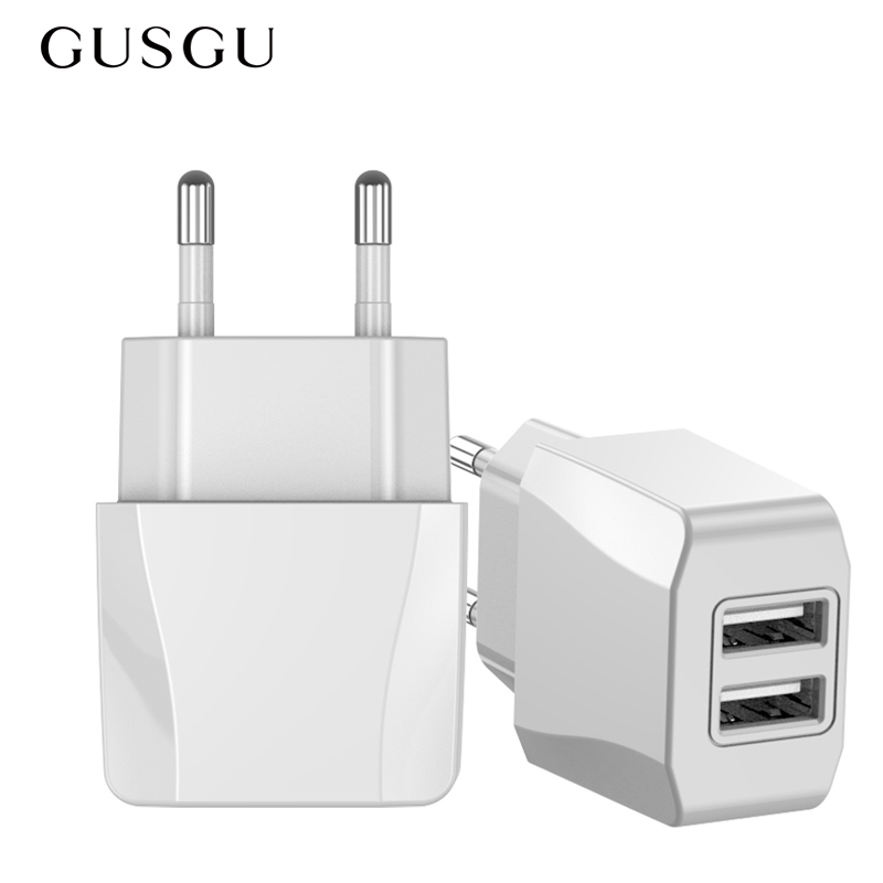 GUSGU Dual USB Charger EU Plug 2.1A Travel Wall Mobile Phone