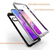 20pcs/lot For Samsung S10 Plus Case Cover transparent PC+TPU+Silicon Shockproof outdoor Coque+Free PET Full cover Film