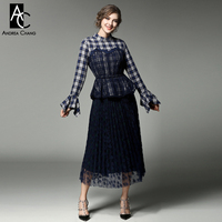 Spring Autumn Runway Designer Womans Clothing Set Blue Red Plaid Blouse Lace Patchwork Over Knee Pleated