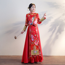 Chinese Red clothing show autumn bride wedding gown dress female Fashion pattern Phoenix butterfly flower Suzhou embroidery Wear spring and summer clothing xiu he chinese red wedding dress bride cheongsam phoenix gown chinese fashion show kimono outfit