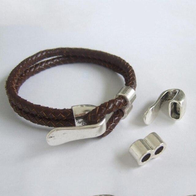 5 Sets Antique Silver 5mm Round Leather Hook Bracelet Clasp For 2 Strands