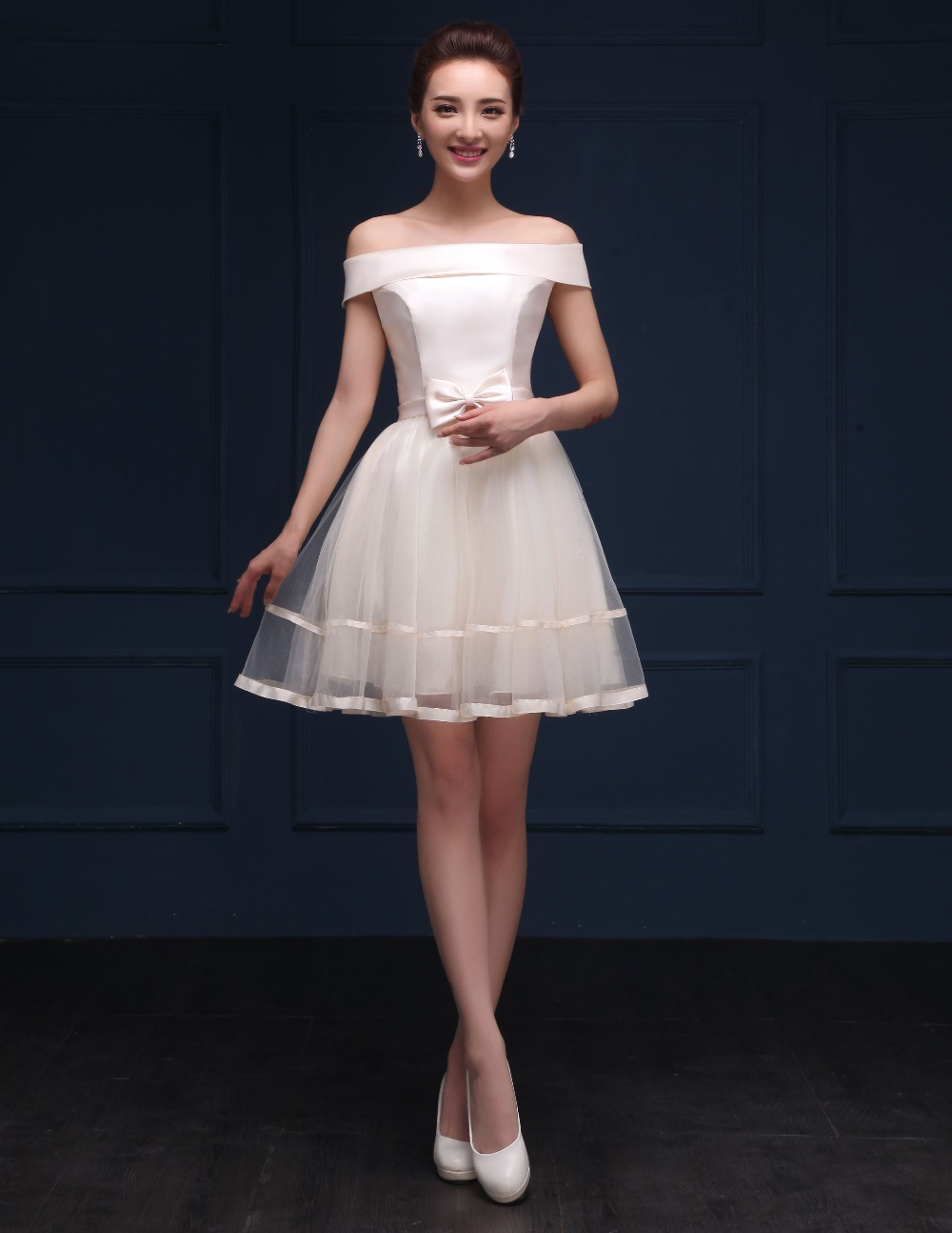 Lansitina 2017 new style net mini bridesmaid dress cheap bow a line lansitina 2017 new style net mini bridesmaid dress cheap bow a line party prom dresses junior bridesmaid dresses in bridesmaid dresses from weddings ombrellifo Image collections