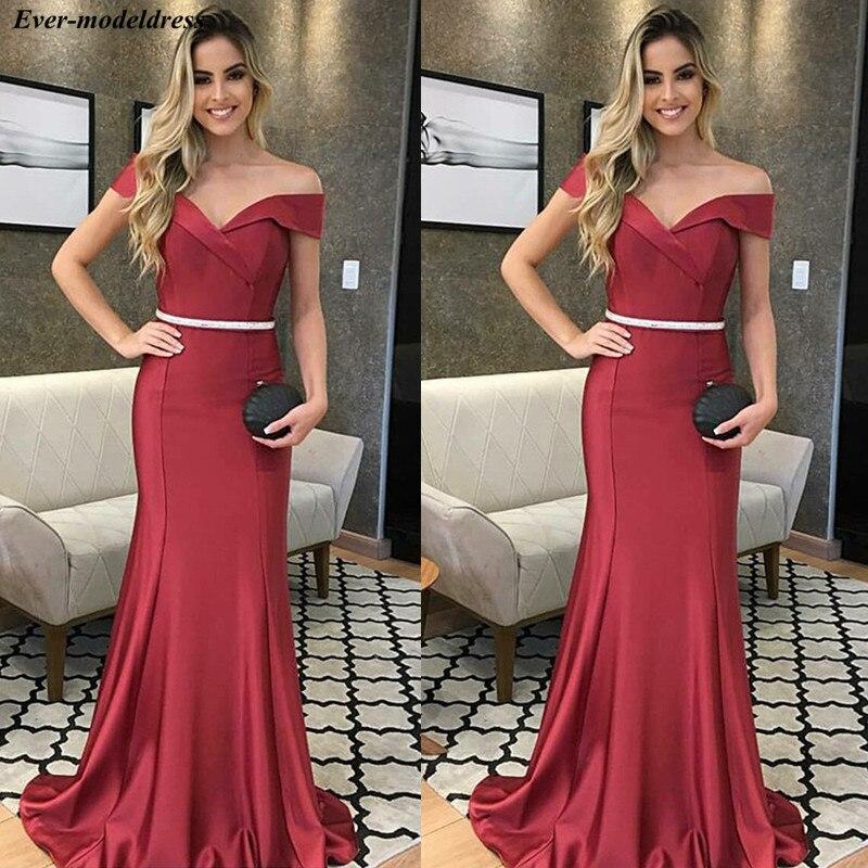 Off Shoulder Mermaid   Evening     Dresses   2019 Zipper Back Sweep Train Beaded Belt Formal Gowns Prom Party   Dresses   Robe de soiree