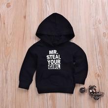 MR. steel/детские толстовки с надписью для мальчиков и девочек топы с капюшоном и буквенным принтом для маленьких мальчиков и девочек, пуловер