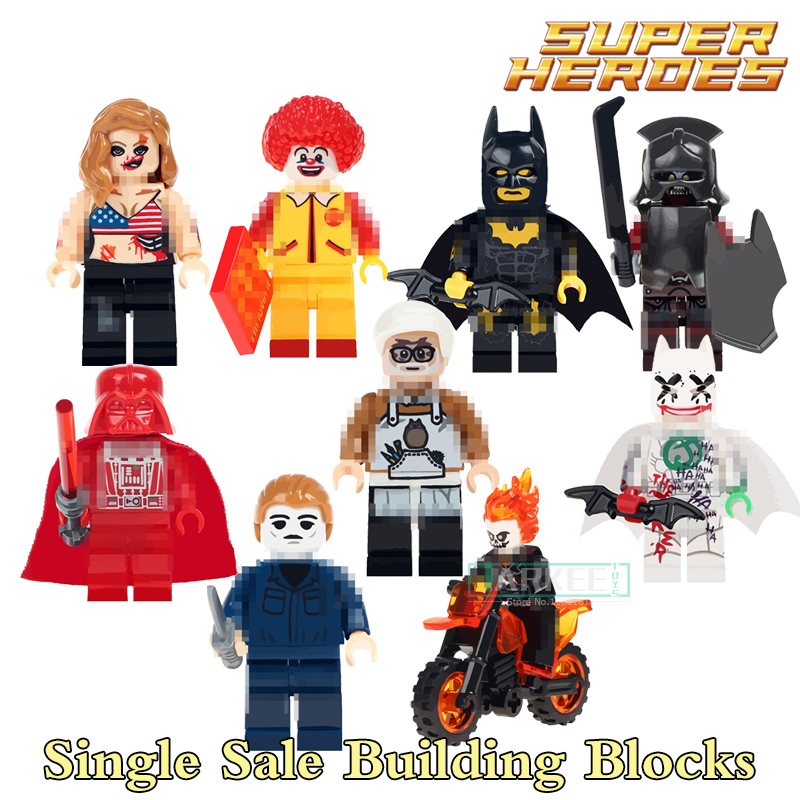 Building Blocks Batman Ronald McDonald Joker Ghost Rider Super Heroes Star Wars Bricks Kids DIY Toys Hobbie WM298 Figures single building blocks kits ninja pythor kozu lloyd zane nya figures super heroes star wars model bricks kids toys hobbies x0143
