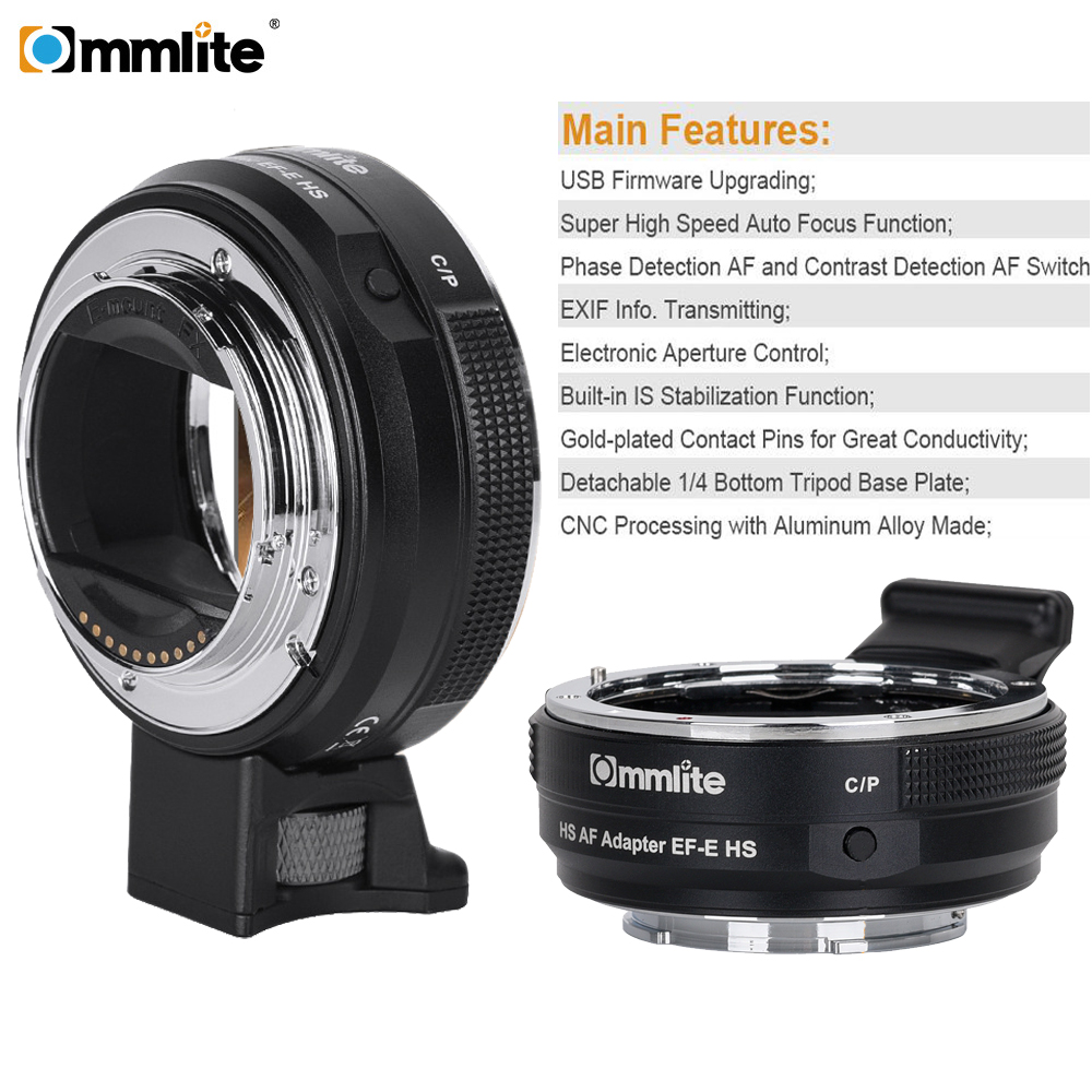 Commlite CM-EF-E HS Faster Auto Focus Lens Adapter For Canon EF/EF-S Lens To Sony E-Mount Camera A9 A7RIII A7 A6000 A6300 A6500