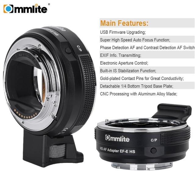 Commlite CM-EF-E HS быстрее адаптер объектива с автоматической фокусировкой для Canon EF/EF-S объектив sony E-Mount Камера A9 A7RIII A7 A6000 A6300 A6500
