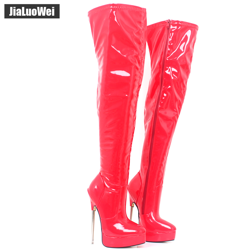 18CM Super High Heel Women Over The Knee Zip Boot Platform Fashion Sexy Fetish Soft PU Thin Heels Ladies Dance crotch Long Boots 20cm high height sex boot pu platform hoof heels over the knee boot no wg11b