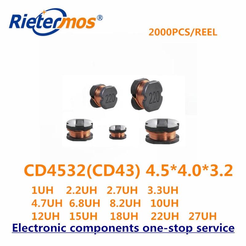 CD4532 CD43 4.5*4.0*3.2 CD43 1UH 2.2UH 2.7UH 3.3UH 4.7UH 6.8UH 8.2UH 10UH 12UH 15UH 18UH 22UH 27UH 20%