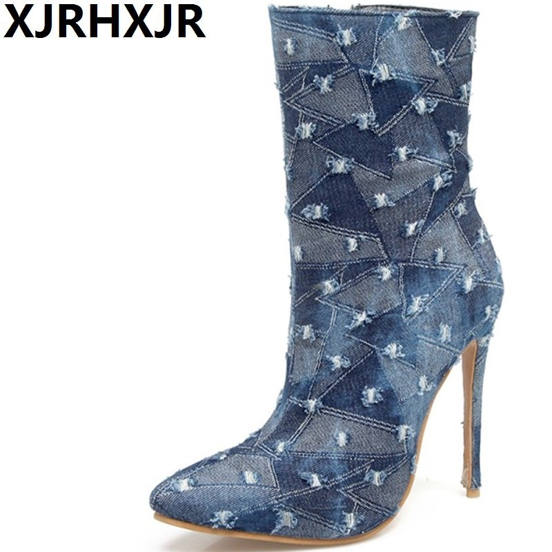 XJRHXJR Sexy Thin Heels Shoes Woman Mid-calf Hollow Denim Boots Fashion Pointed Toe Shoes for Autumn Winter Large Size 33-48 цена