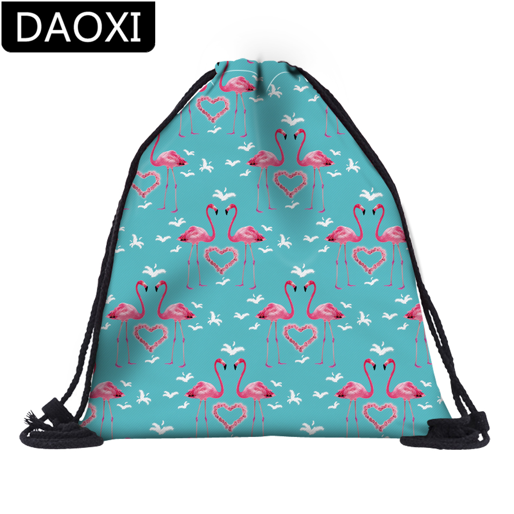 DAOXI 3D Printed Flamingo Heart Blue Drawstring Bags Travel For School Backpacks DX30574