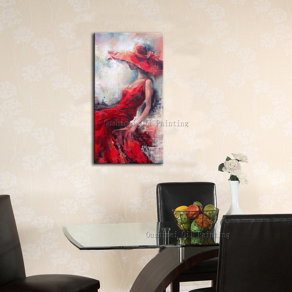 Hi Q Hand Painted Pretty Girl Paintings on Canvas Impression Character  Painting Hang Picture Red Dress Figure Oil Painting-in Painting &  Calligraphy from ...