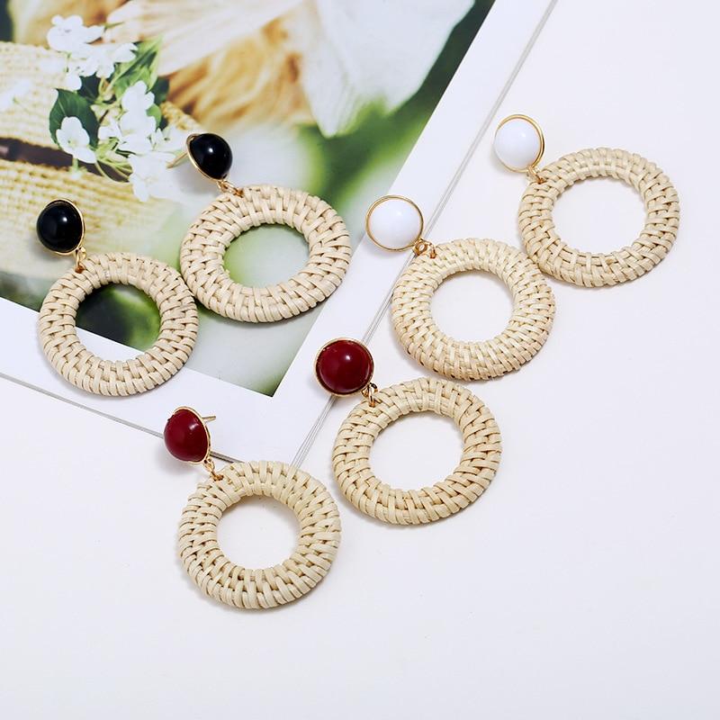 Korean Fashion Bamboo and Rattan Handmade Earrings Straw Openwork Geometric Earrings 2019 Wood Acrylic Vintage Jewelry earring in Drop Earrings from Jewelry Accessories