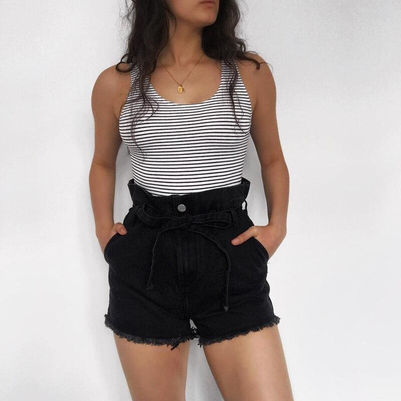 InstaHot Denim Belt High Waist Jeans   Shorts   Women 2019 Hot Fashion Popular Sashes Pockets   Shorts   Lady Jeans Blue Jeans Zippers