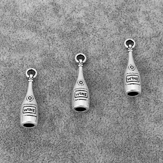 30PCS Antique Silver Red Wine Bottle Charms Pendants Fit Necklace Earrings Making Jewelry Findings 28x8mm 2