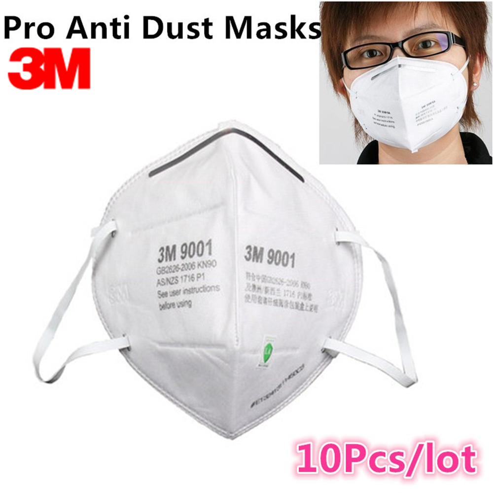 10Pcs 3M 9001 KN90 Dust Masks Respirator Anti-dust PM2.5 Industrial Construction Pollen Haze Gas Family & Pro Site Protection 10pcs kn95 anti dust dust masks anti pm2 5 industrial construction dust pollen haze gas family and pro site protection tool