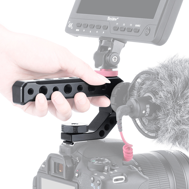 Hand Held Estabilizador Rig DSLR Camera Aperto Alça Superior Sapato Frio Estender Adaptador de Montagem Rod para Mic DIODO EMISSOR de Luz Do Monitor canon Nikon