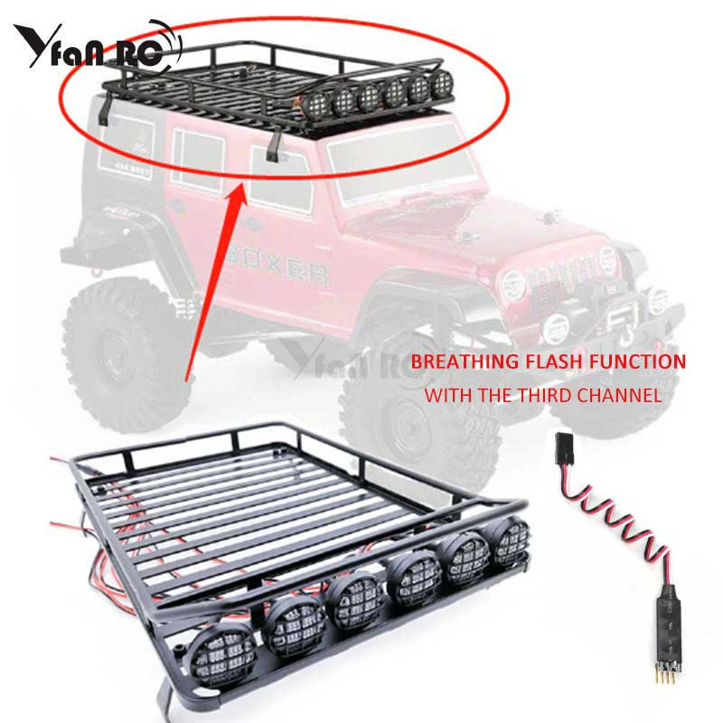 yfan RC Free Shipping Roof Rack Luggage Carrier with Light Bar for 1/10 RC Crawler D90 Axial SCX10 90046 Y0001yfan RC Free Shipping Roof Rack Luggage Carrier with Light Bar for 1/10 RC Crawler D90 Axial SCX10 90046 Y0001