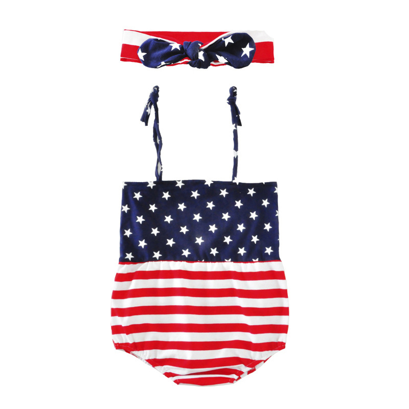 Lovely Newborn Baby Girl Romper Clothes Infant Bebes American Flag Ruffled Skirted Kids Jumpsuit Outfit Sunsuit cute newborn baby girl clothes little princess striped bow romper sunsuit infant bebes jumpsuit children clothes