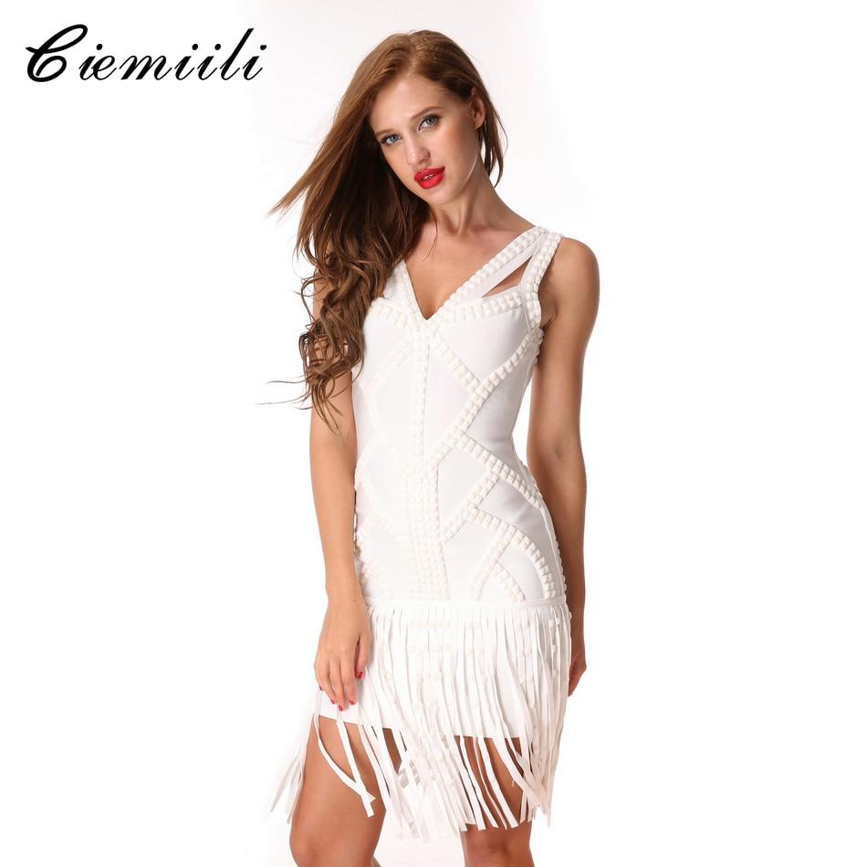 CIEMIILI 2018 V Neck Crystal Tassel Evening Party Bodycon White Sexy Dress Noble Sleeveless Dresses Knee