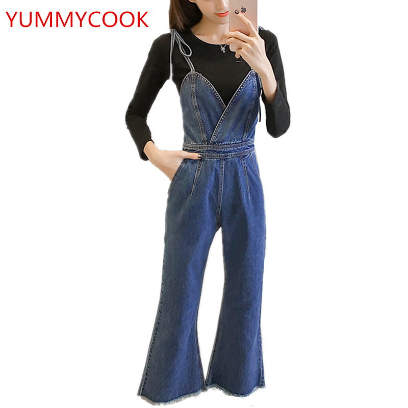 YUMMYCOOK Spring summer fashion Sling Nine-point jumpsuit female loose Wild large size High waist Rompers Women's clothing A123 1