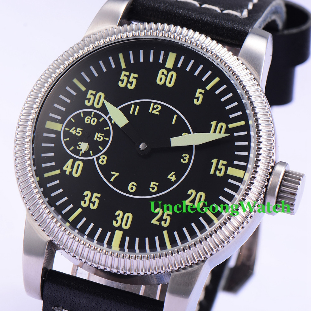 Debert 45mm Black Sterile Dial Green Marks WristWatches 6497 Mens Mechanical Hand Winding Watch Luminous 44mm black sterile dial green marks relojes 6497 mens mechanical hand winding watch luminous armbanduhr cm164bk