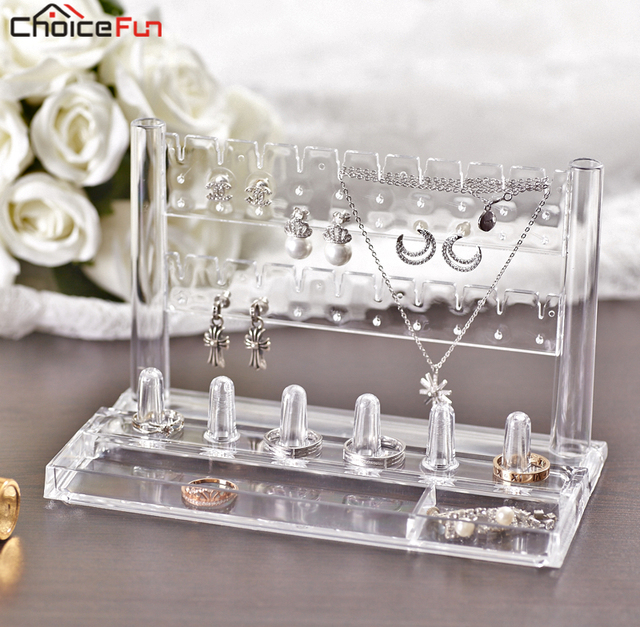 Choice Fun 10 Pairs Accessories Jewellery Bracelet Necklace Earring Organiser Organization Clear Acrylic Ring Storage