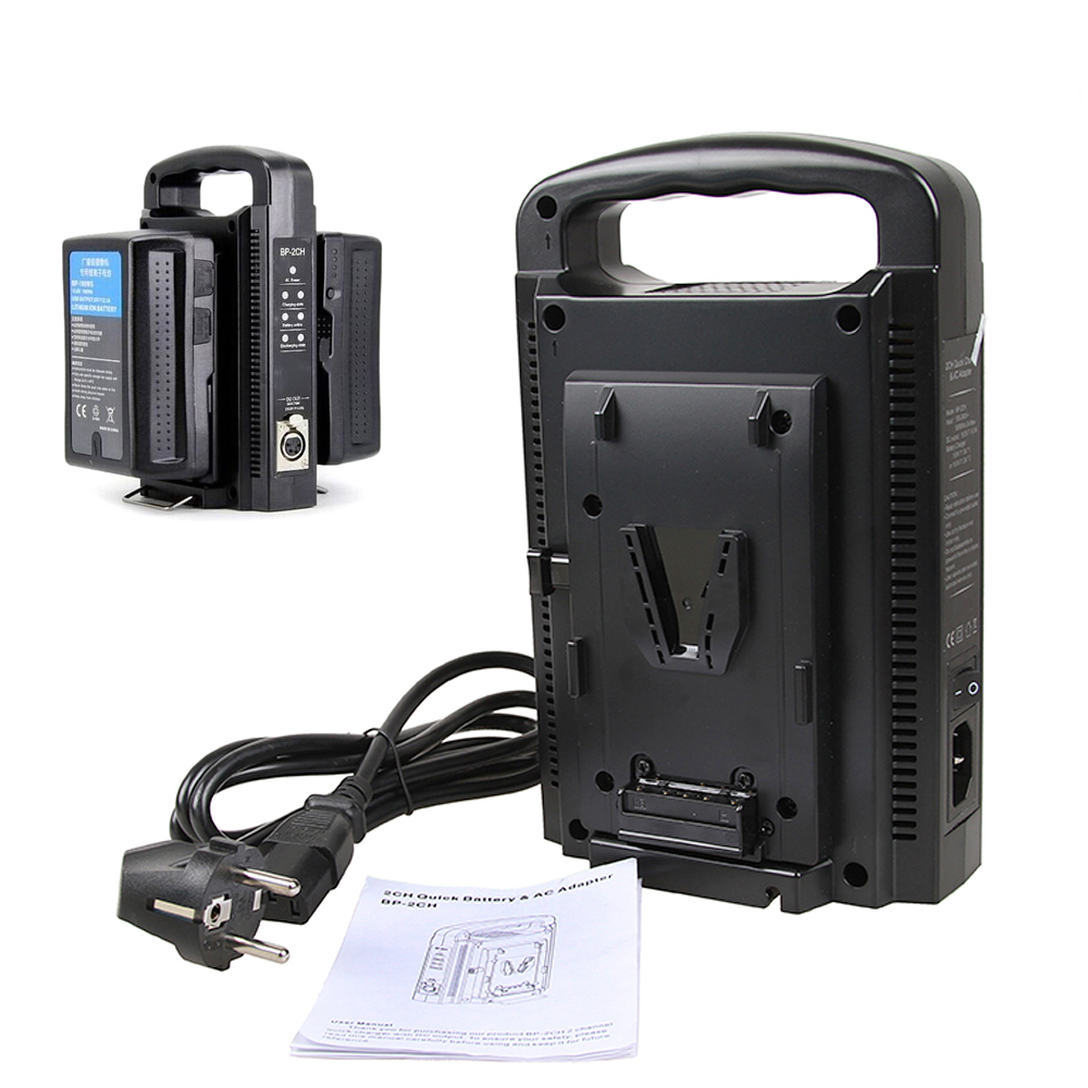 V Mount Battery BP-2CH Dual Quick Battery Charger & AC Adapter For 14.4V/ 14.8V V-mount Battery Sony BP-95W BP-150W BP-190W