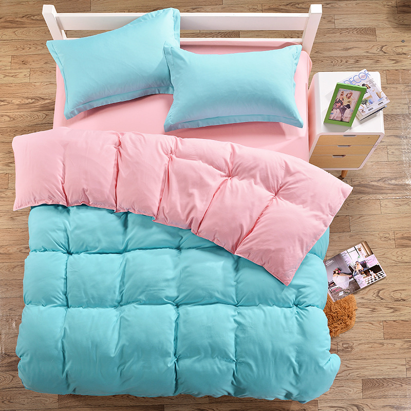 Sky Blue Pink Color AB Side Bedding Sets Twin Full Queen Size For Children Adults Duvet Cover Set Single Double Bed XF354-12