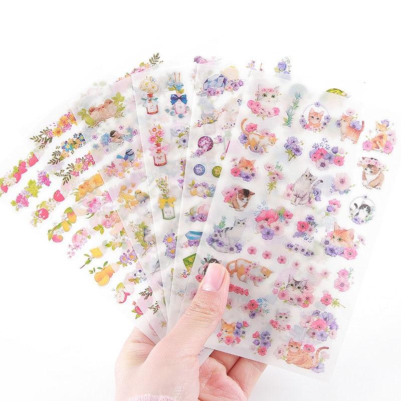 6Sheets DIY Kawaii PVC Flower Stickers Unicorn Cartoon Cat Stationery Stickers Scrapbooking For Decoration Photo Album Diary