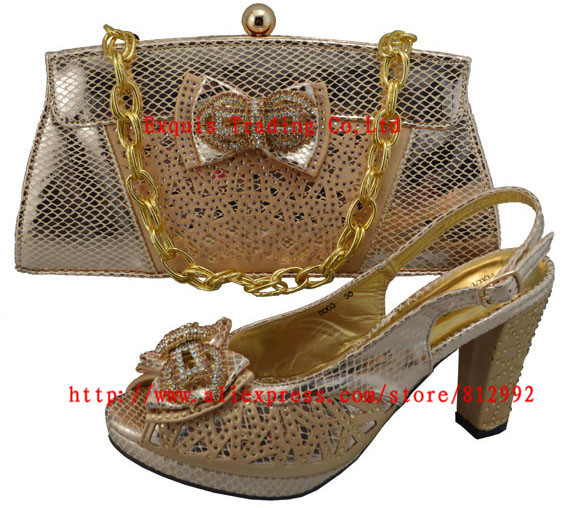 ФОТО Italian Shoes With Matching Bag High Quality For party wedding Italy Shoes And Bag For Evening Free Shipping GF8003 Light peach