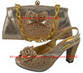 Italian Shoes With Matching Bag High Quality For party wedding Italy Shoes And Bag For Evening Free Shipping GF8003 Light peach