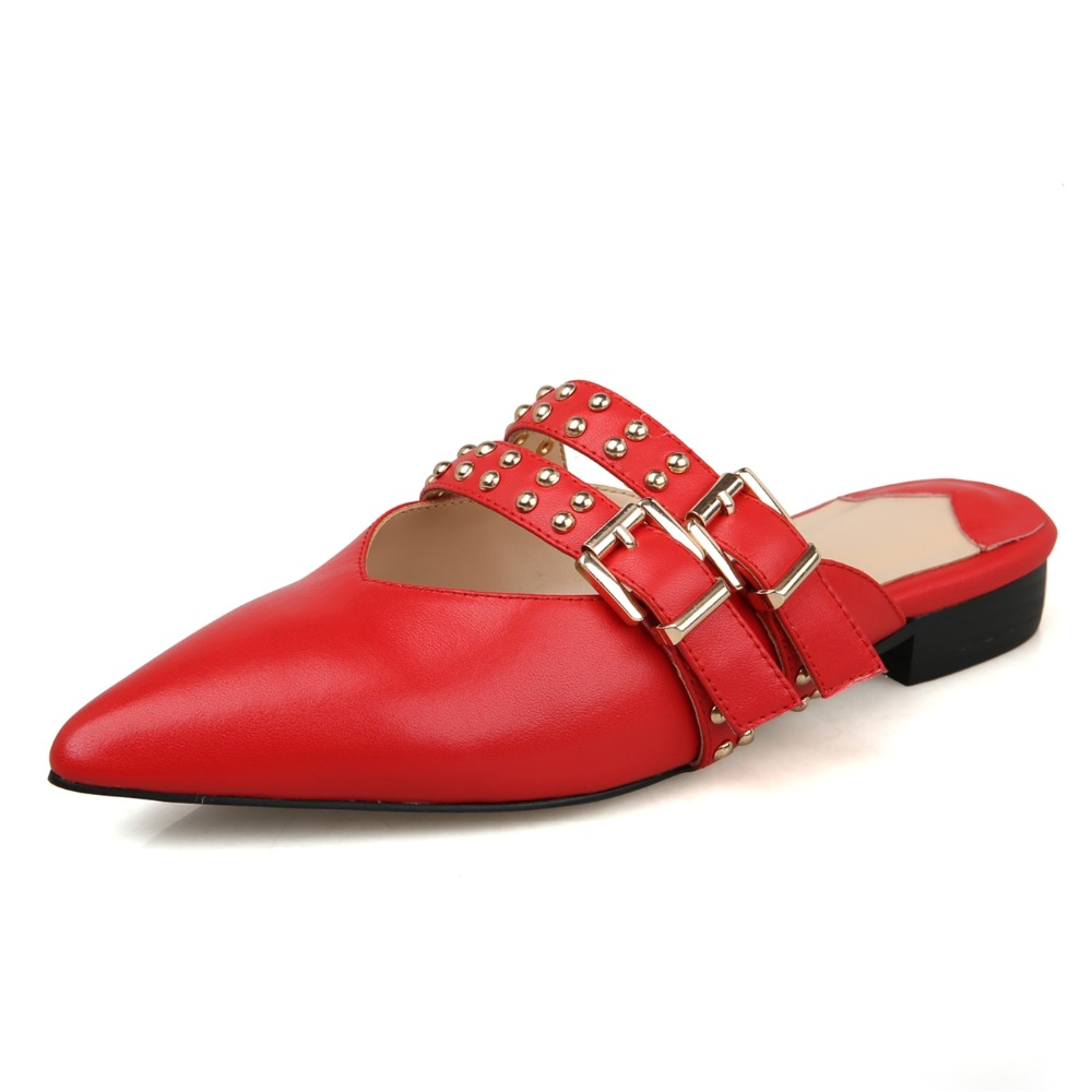 ФОТО 2017 Double buckle Women Mules Genuine leather Summer Sandals Sexy ladies Red Party Shoes Woman Size 34-39 Box packing HPG-3336