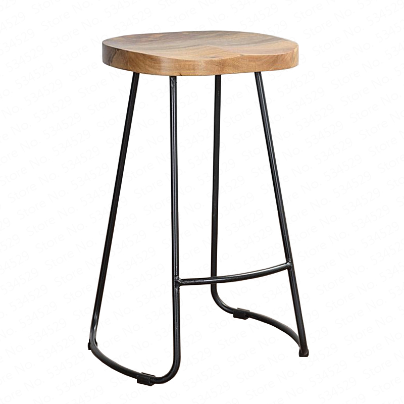 B Modern Simple Iron Foot Stool Surface Solid Wood Bar Stool Home High Chair Coffee Shop Cold Drink Shop Bar Stool