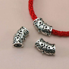 TJP 10pcs Antique Tibetan Silver Tone Hollow Open Big Hole Long Bent Spacer Beads Tube for Bracelets DIY Jewelry Making Findings