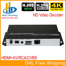 URay HEVC 4K Ultra HD H.265 / H265 Dan H.264 / H264 HDMI AV RCA Video Streaming Decoder Untuk Decoding HTTP RTSP RTMP UDP Encoder