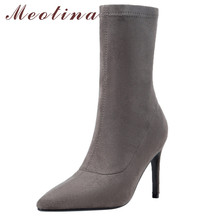 купить Meotina Autumn Mid-calf Boots Women Real Leather Thin Heels Elastic Boots Slim Stretch Super High Heel Sock Shoes Lady Winter 39 дешево
