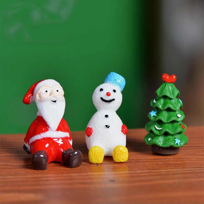 Kawaii Noel Kardan Adam Sant Baba Ağacı Minyatür Heykelcik Bonsai süs ev dekorasyon peri bahçe DIY reçine zanaat figürleri