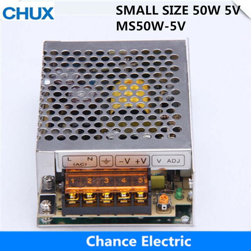 Switching Power Supply 50W 5V Small Volume  for LED Strip light AC to DC (MS-50W-5V)  Single Output 10A Power Suppyliers