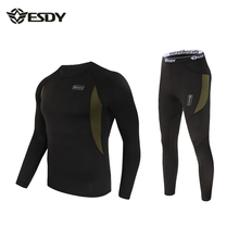ESDY High Quality Thermal Men Underwear Sets Suit Compression Sport Fleece Sweat Quick Drying Thermo Mens Clothing Winter Warm