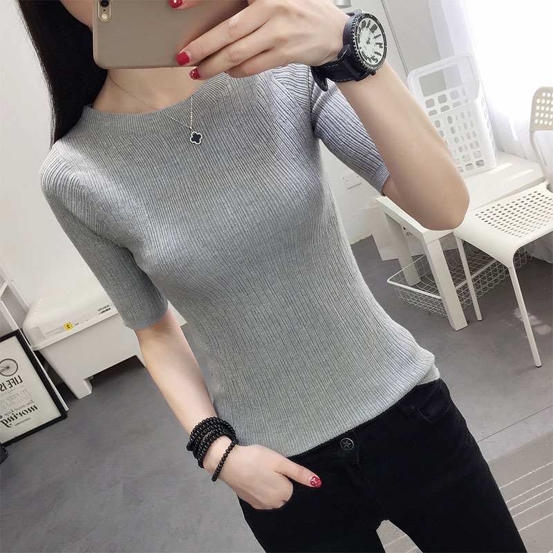 Poncho Time-limited Three Quarter Women Sweater 2018 New Spring Korean Sleeve Shirt Collar Solid Elastic Sweater Five Girl