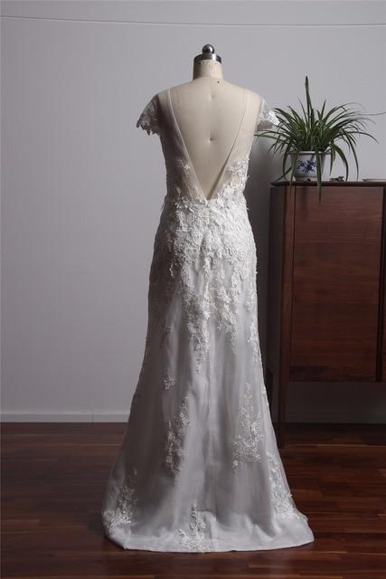 Simple Beautiful Backless Wedding Dress Mermaid Style Vintage Lace Bride Dresses Vestidos De Novia 2017