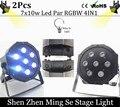2pcs  10w lamp beads 7x10W led Par lights RGBW 4in1 flat par led dmx512 disco lights professional stage dj equipment