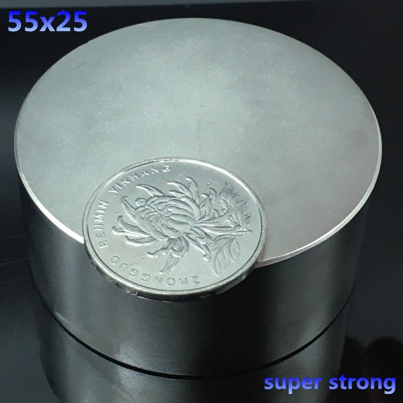 1 pcs fortes ímãs de neodímio N52 55x25mm rodada 55*25mm forte Terras Raras Magnético poderoso super forte ímãs